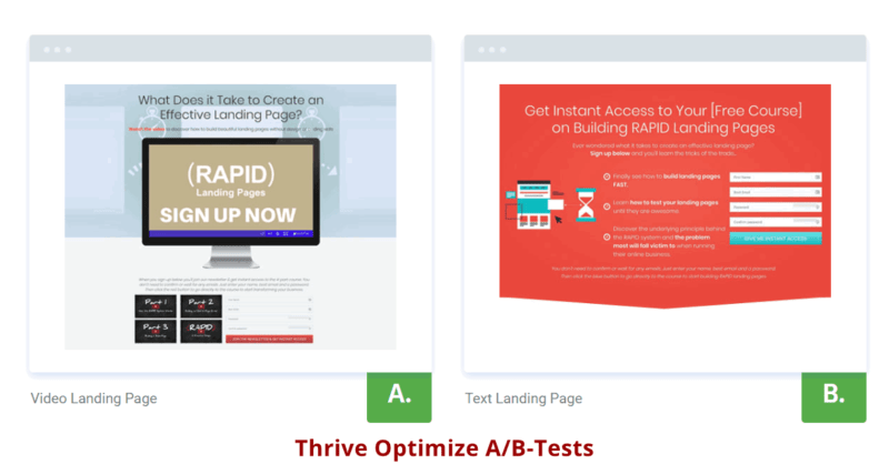 Landing page - Thrive optimize