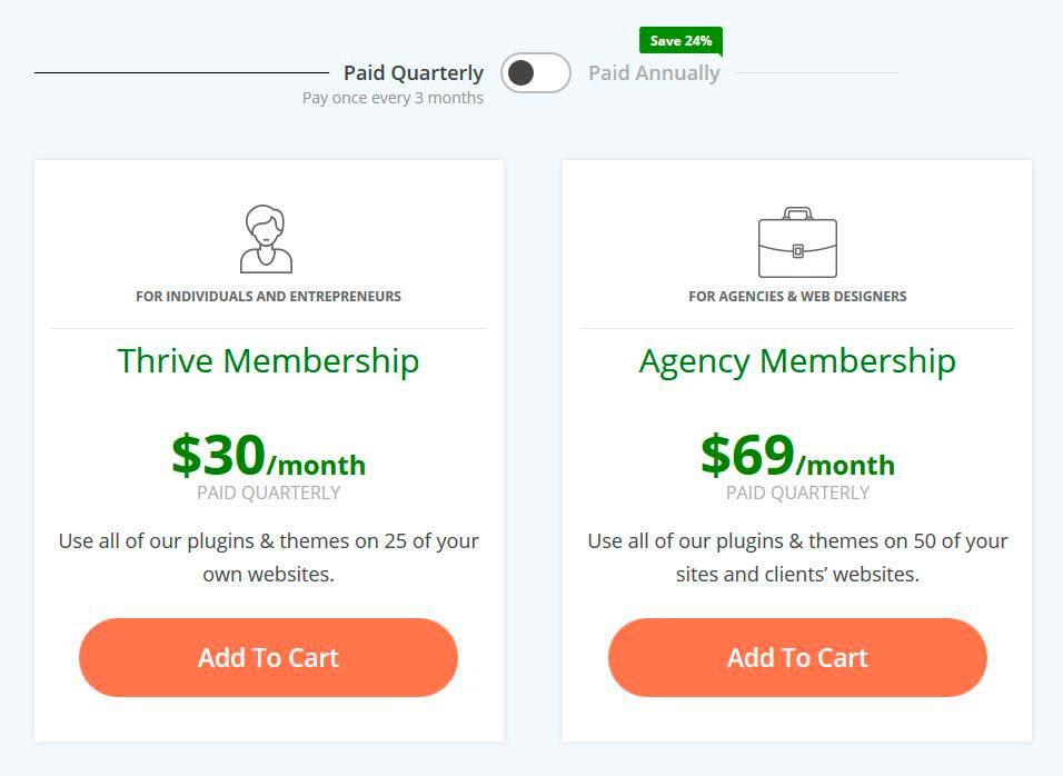 Tarifs Thrive Membership paiement Trimestriel
