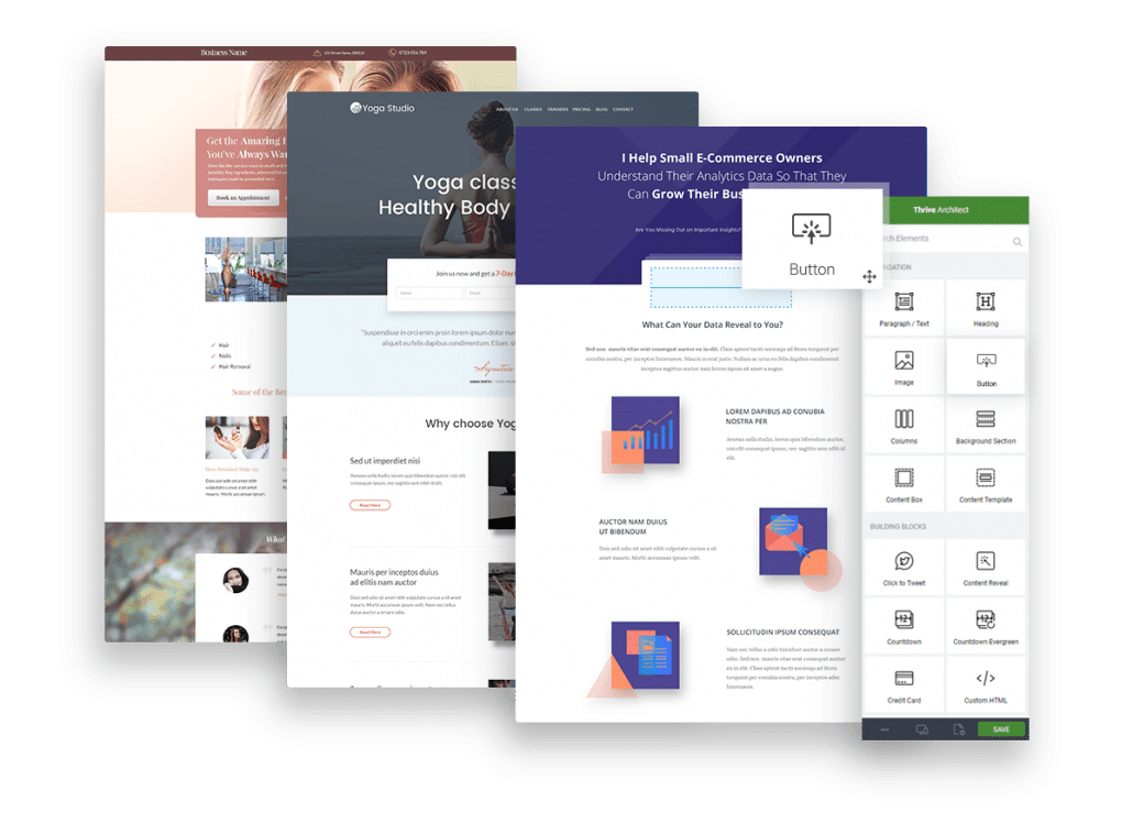 Thrive Theme Architect page accueil exemple