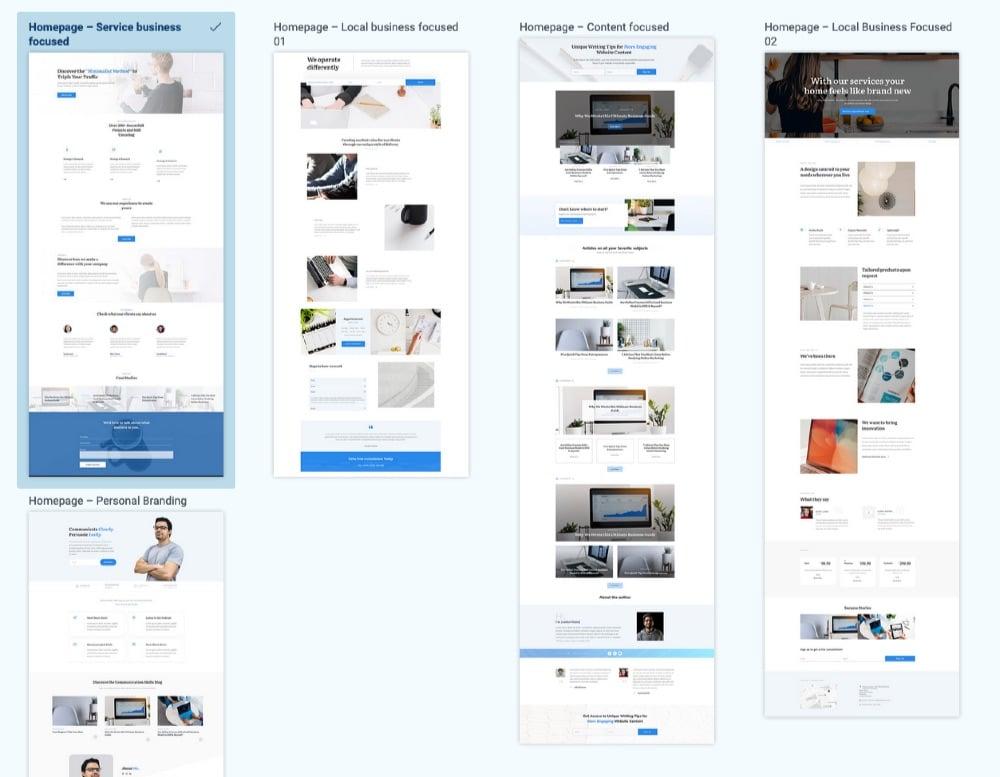 Thrive Theme builder - Modèles de Pages d'accueil