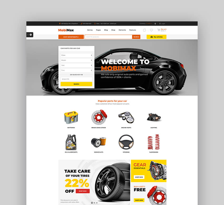 MobiMax - Thème WooCommerce pour une boutique de pièces automobiles