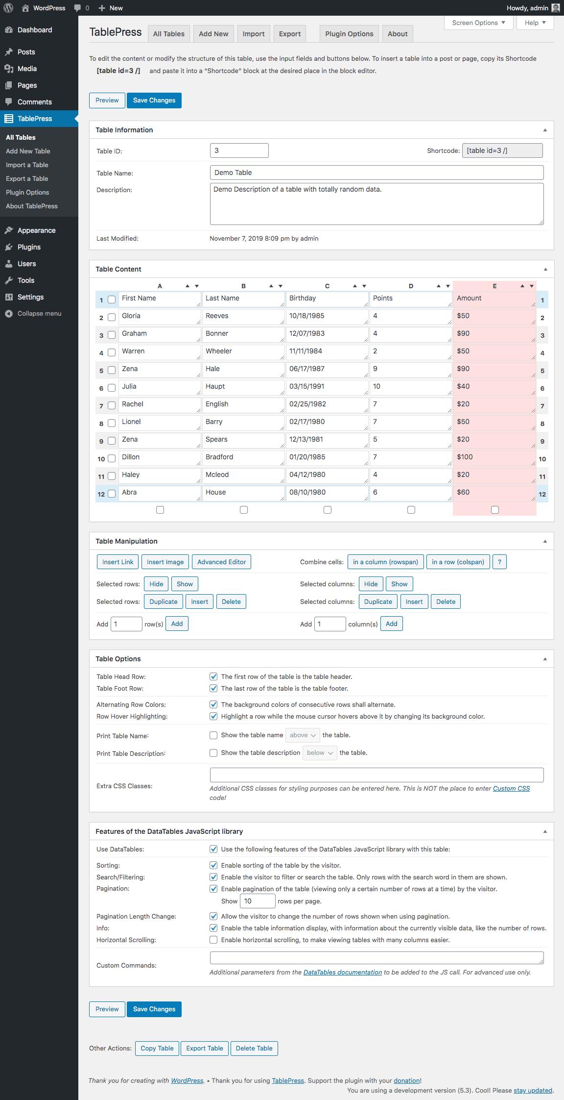 TablePress - Extension WordPress