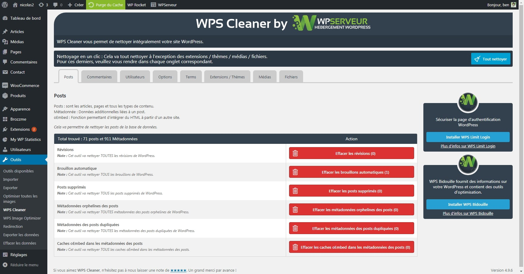 WPS Cleaner - Fonctionnalités