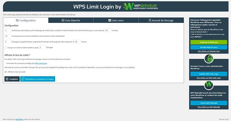 WPS Limit Login-fonctionnalites