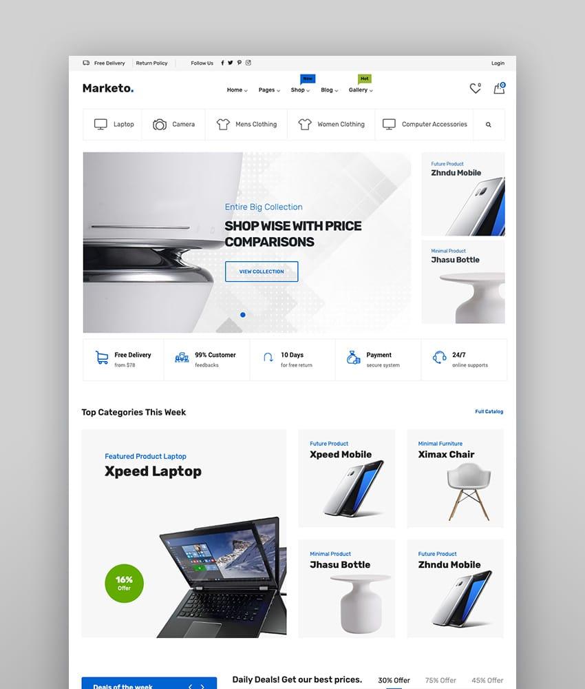 Marketo - Marché du commerce électronique et du commerce multi-fournisseurs Woocommerce WordPress Theme