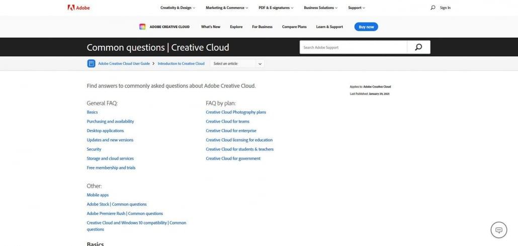 FAQ Adobe