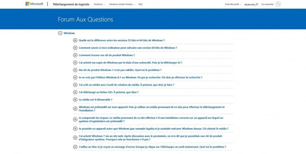 FAQ Microsoft