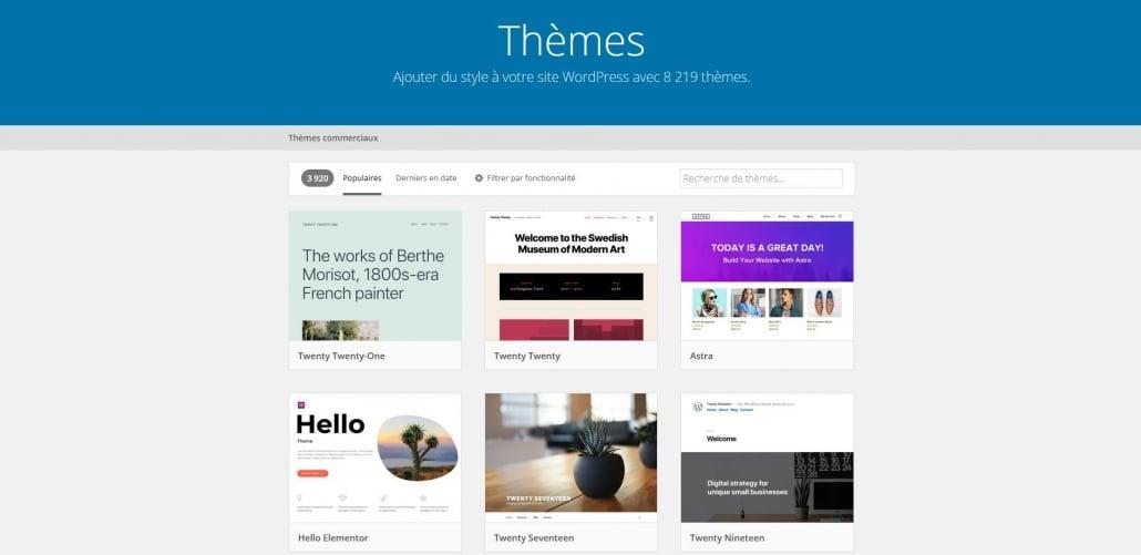 Repertoire des thèmes WordPress