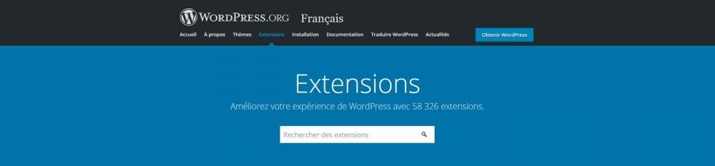 Repertoire des extensions WordPress