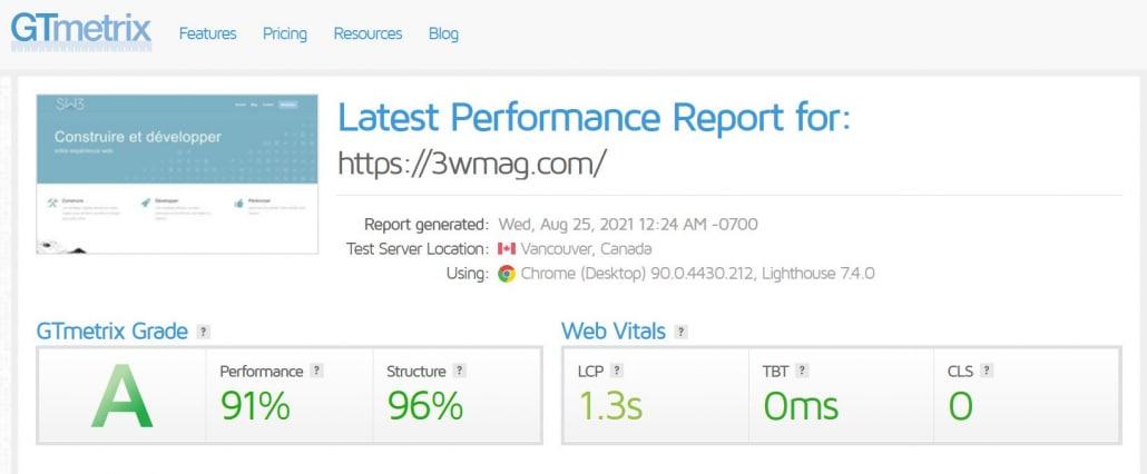 GTmetrix - SEO - Vitesse site web